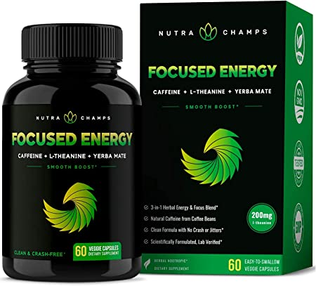Caffeine Pills with L-Theanine for Energy & Focus - Smooth & Clean Focused Energy - Cognitive Stack with Yerba Mate for Performance - No Crash, No Jitters - Nootropic Brain Booster Vegan Capsules