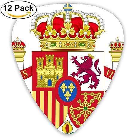 Juego de 6 púas de celuloide para bajo de guitarra, diseño de escudo de armas de España 351, 71 mm: Amazon.es: Instrumentos musicales