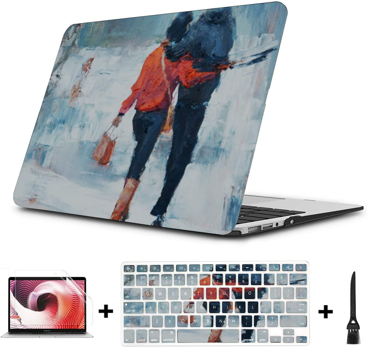 Mac Book Pro Cover Love Sweet Red Leaf Pareja Pintura al óleo Plástico Carcasa Dura Compatible Mac Air 11