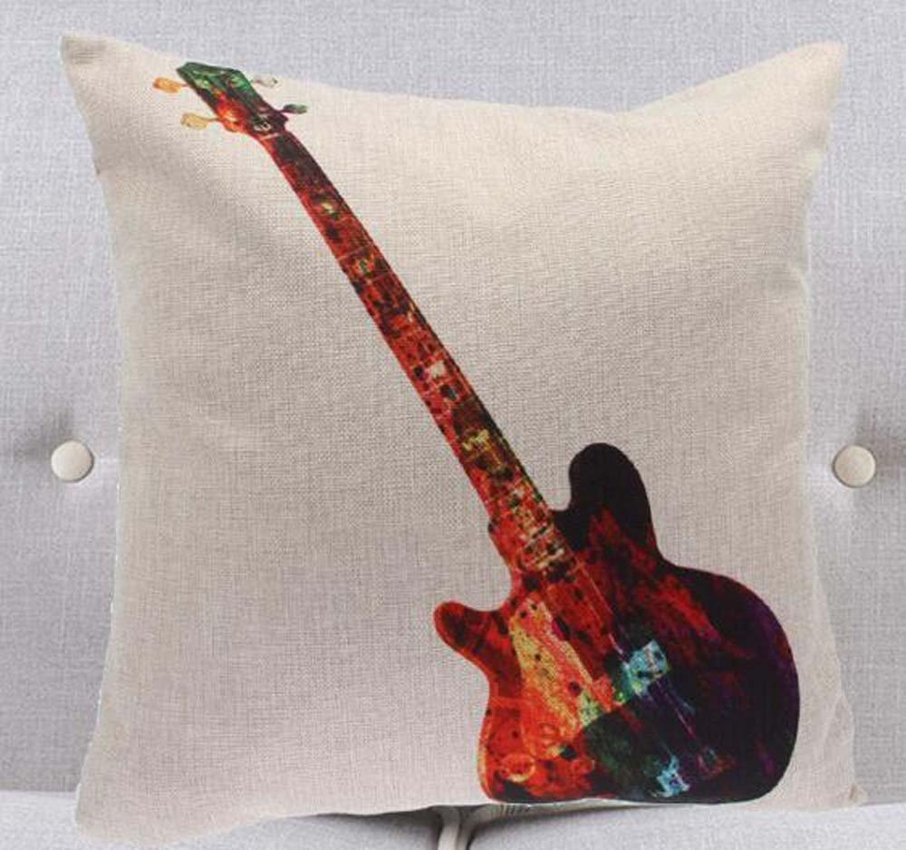 Tinta pintura instrumentos bajos guitarra eléctrica para violonchelo (lino y algodón manta fundas de almohada caso cojín cubierta sofá decorativo cuadrado ...