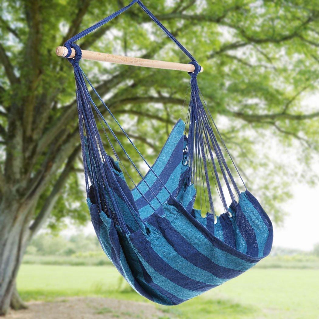 Beau Amazon.com : Busen Hanging Patio Chair Hammock Swing Outdoor Porch Tree  Rope Seat Yard Hanging Rope Chair Porch Swing Lounge Camp Seat (Blue) :  Garden U0026 ...