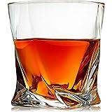 Venero Crystal Whiskey Glasses, Set of 4 Rocks Glasses in Gift Box - Lowball Bar Glasses for Drinking Bourbon, Scotch Whisky,