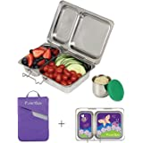 PlanetBox SHUTTLE Eco-Friendly Stainless Steel Bento Lunch Box with 2 Compartments for Adults and Kids - Purple Carry Bag with Lady Bug Magnets