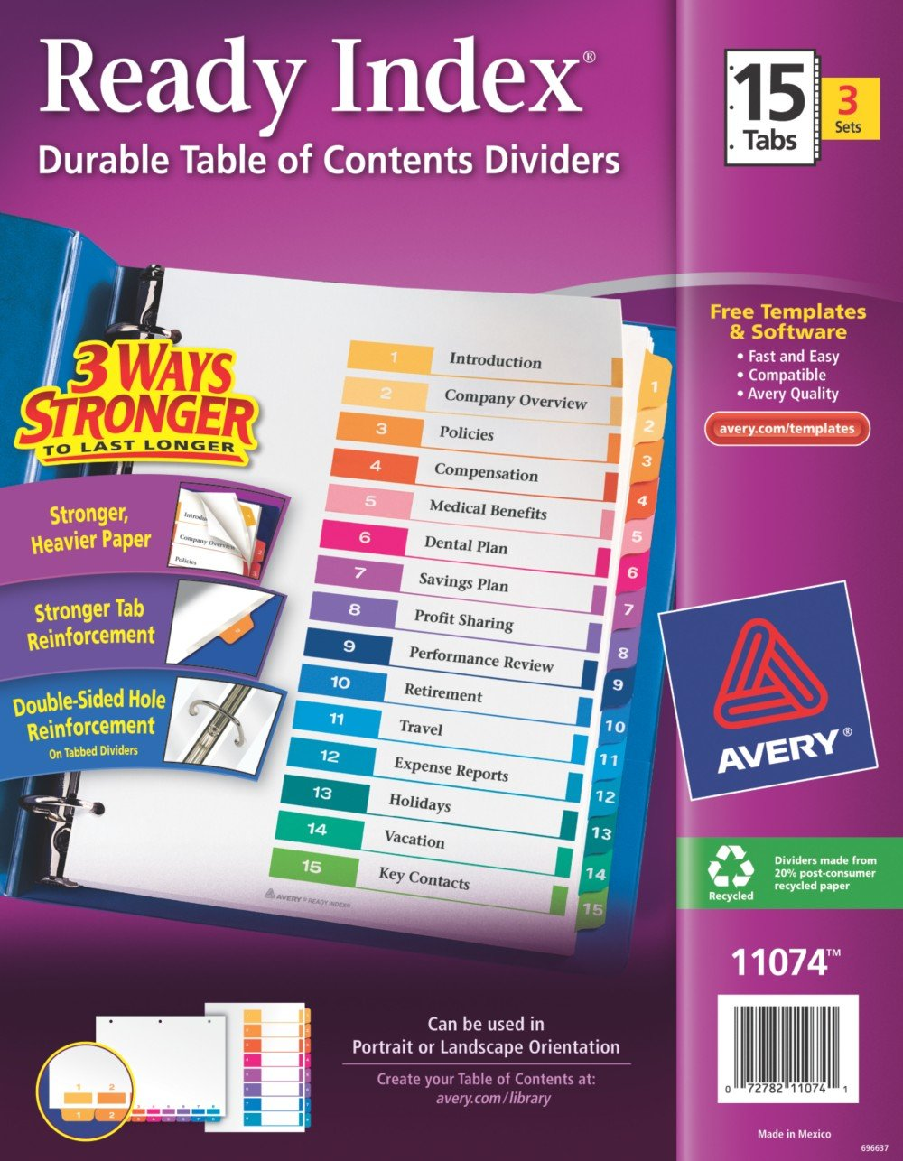 avery table of contents template 15 tab - avery ready index table of contents dividers 15 tab set