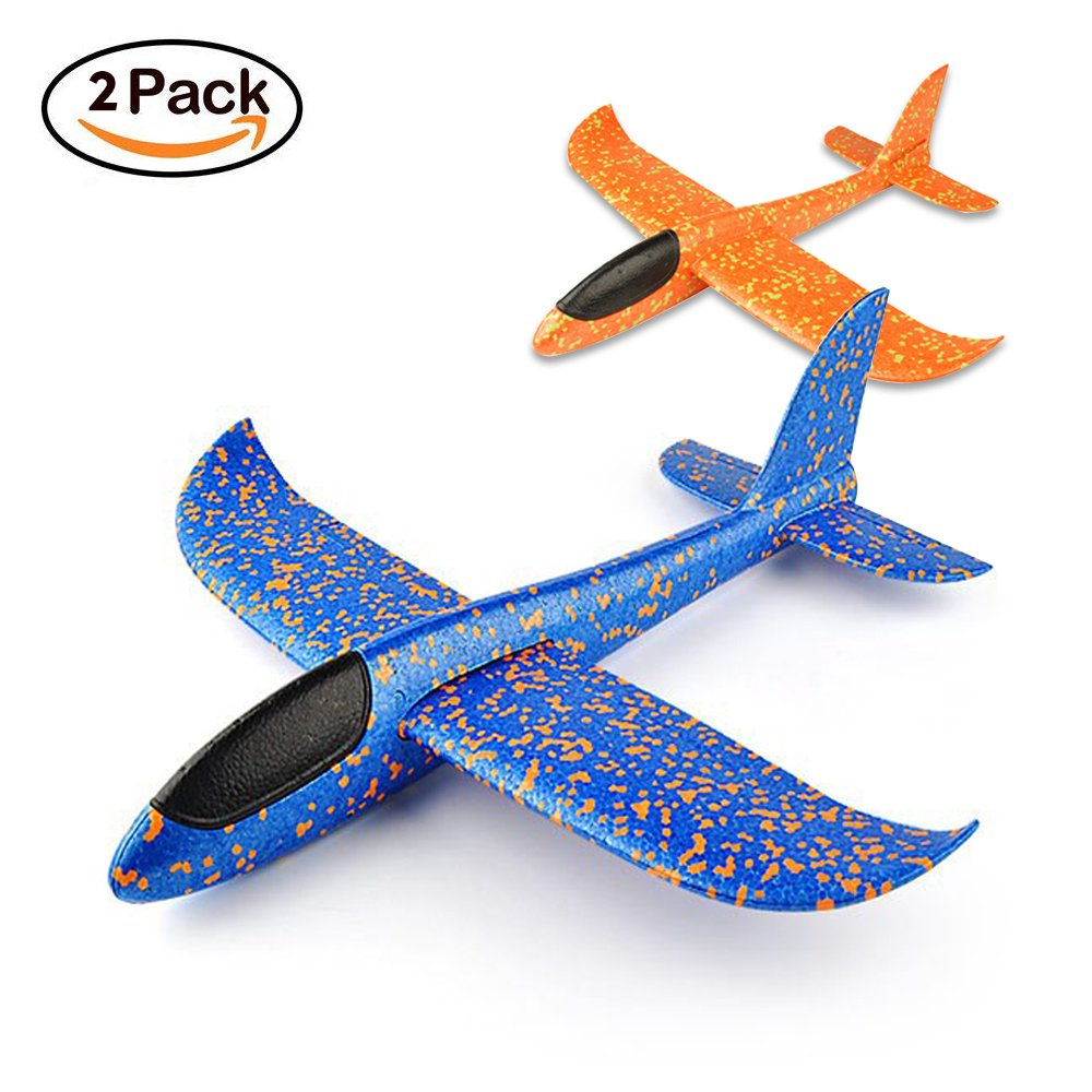 VCOSTORE 2pcs Throwing Foam Glider Airplane,EEP Manual Inertia Airplane Durable Aircraft for Kids Outdoor Sport Toys or Gift(Blue&Orange)