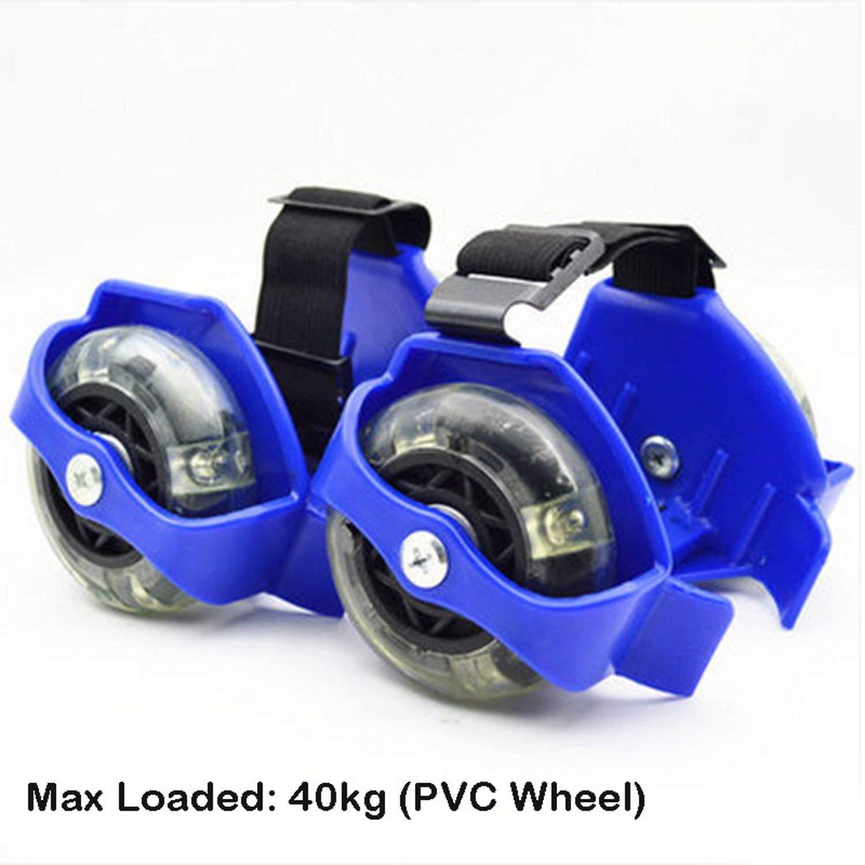 Kids Adult Flashing Roller Skating Shoes Pulley Flash Wheel Heel Roller Skates Sports Roller Skate Shoes,80Kg Pu Blue