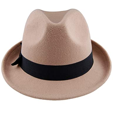 c96291a859 KYEYGWO Woolen Fedora Hats for Women, Vintage Trilby Panama Jazz Hat Short  Brim Cap with Bowknot