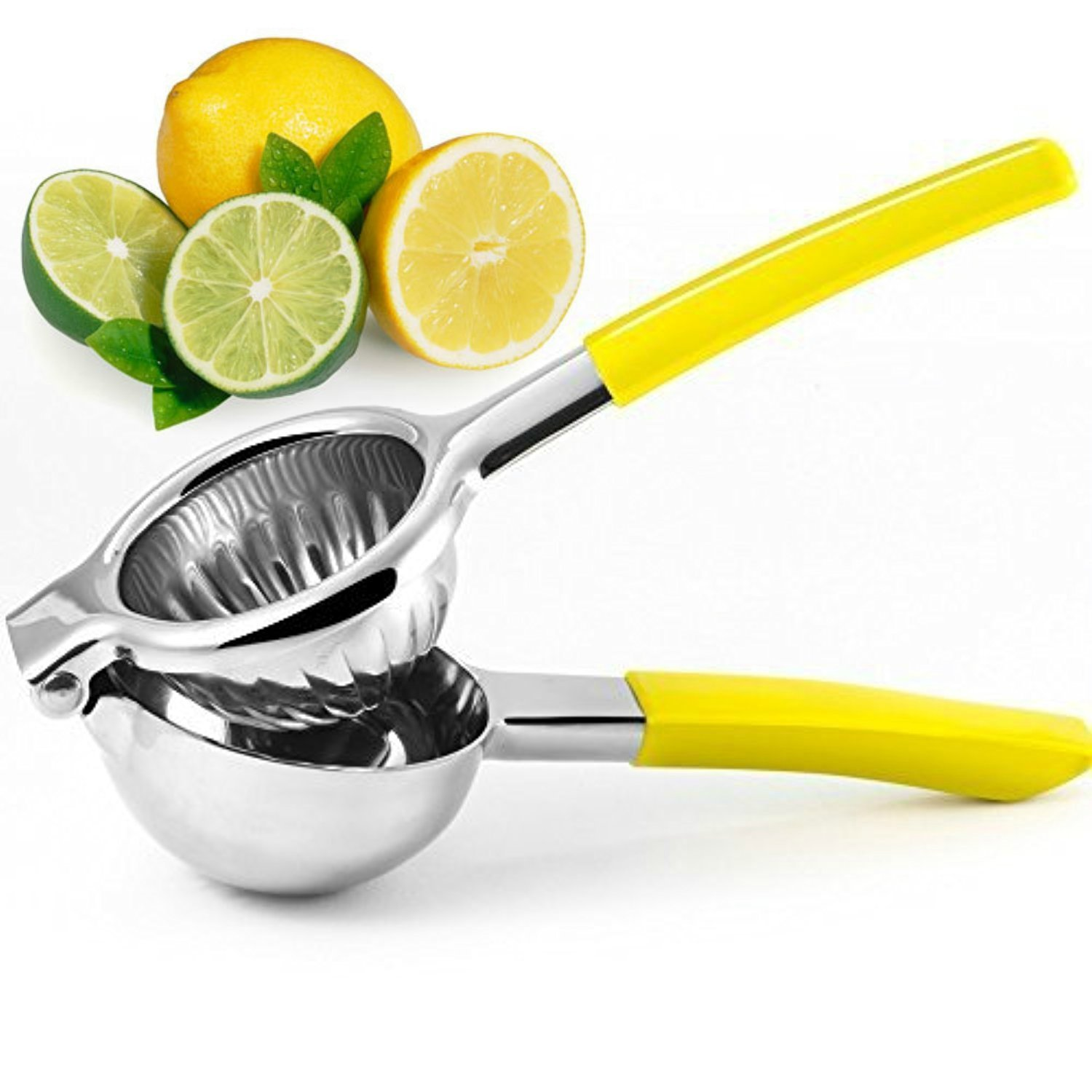 Lemon Squeezer - Best Premium Quality Stainless Steel Hand Press with Silicone Handles and Heavy Duty Easy to Use Manual Citrus Press