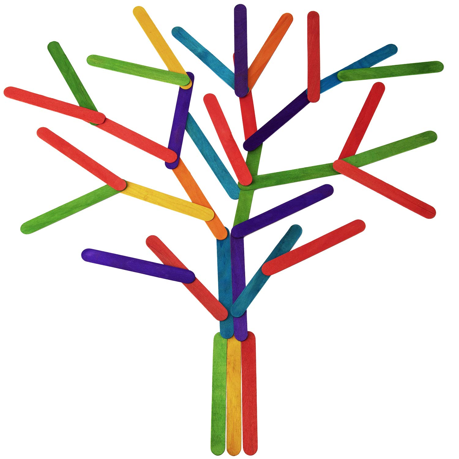 SAVITA 100 Pieces 6 Inches Multi Colored Popcicles Sticks Jumbo Wood Craft Sticks for DIY Craft Projects