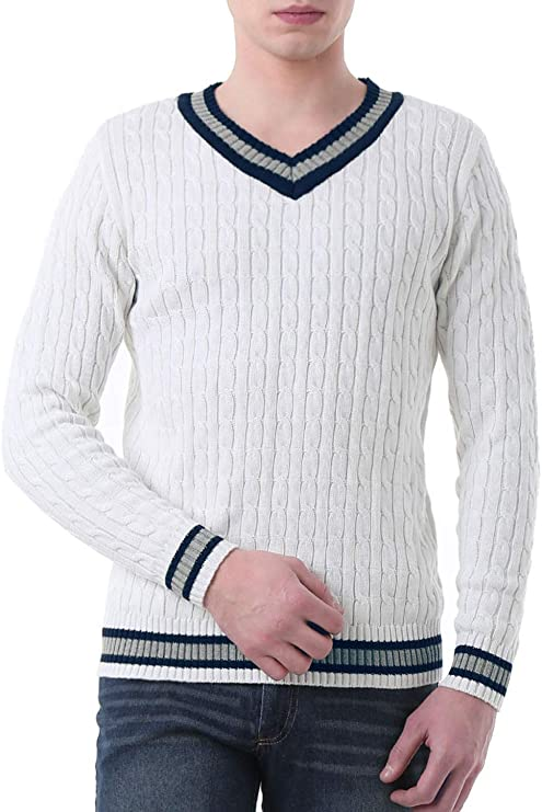 Men's Vintage Sweaters, Retro Jumpers 1920s to 1980s Sourcingmap Mens Casual Soft V Neck Sweater Long Sleeves Ribbed Cable Knitted Pullover Jumper £29.99 AT vintagedancer.com