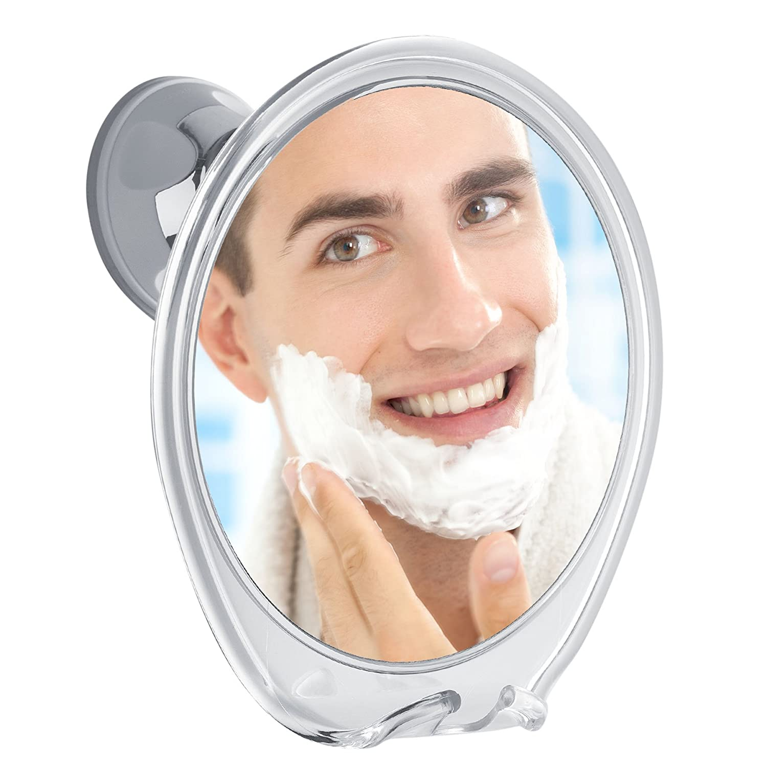 Fogless Shower Mirror with Razor Hook for A Perfect No Fog Shaving, 360 Degree Rotating for Easy Mirrors Viewing, Strong Power Lock Suction Cup Will Not Fall, Ideal for Home and Traveling! M01-615NV
