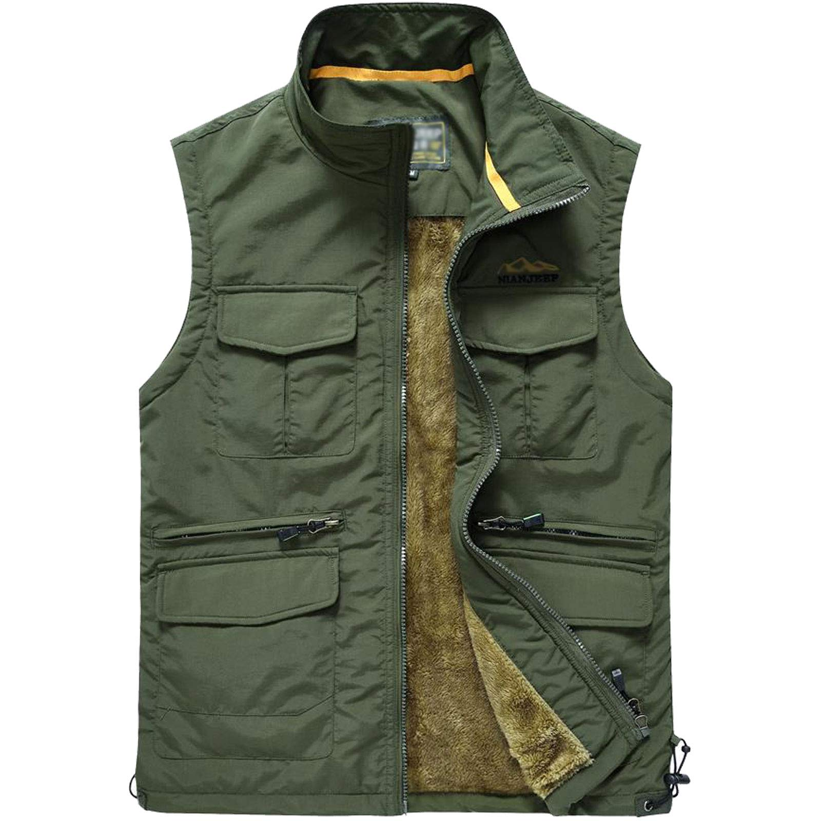 Flygo Men's Utility Outdoor Multi Pockets Fishing Photo Journalist Sports Vest (Large, Army Green #5) by Flygo
