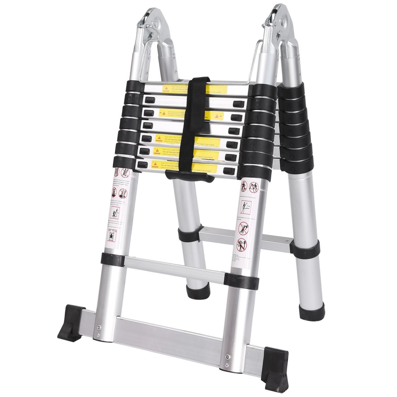 Acecoree Escalera Telesc/ópica de Aleaci/ón de Aluminio Escalera Extensible Plegable Port/átil 380CM