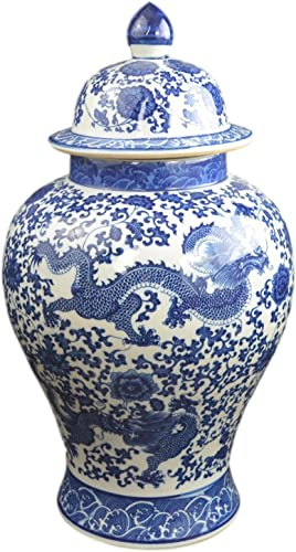 Festcool 20 Classic Blue and White Porcelain Floral Temple Dragon Jar Vase, China Ming Style, Jingdezhen
