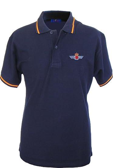 Pi2010 – Polo Ejército del Aire para Hombre, Color Azul Marino, Bandera España en Cuello y Mangas, 100% algodón, Talla S: Amazon.es: Ropa y accesorios