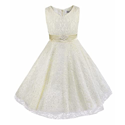 iEFiEL Girls V-Neck Lace Flower Girls Dress Wedding Bridesmaid Party Dress Prom Party Ball