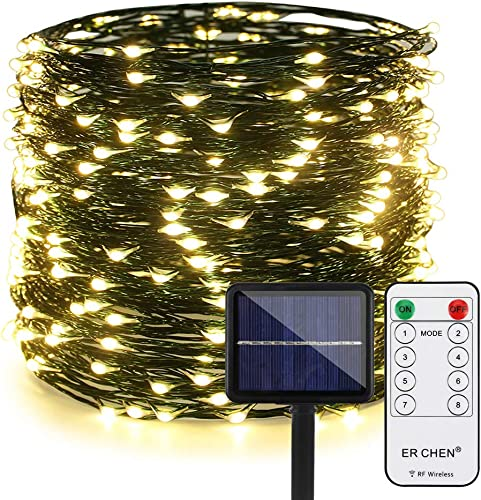 ER CHEN Outdoor Solar String Lights, 99Ft 300LEDs 8 Modes Fairy Lights Waterproof Decoration Green Copper Wire Lights with RF Remote for Party, Patio, Garden, Yard, Wedding, Christmas Warm White