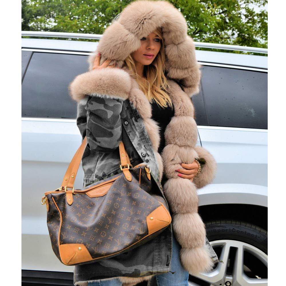 Aox Femme Manteau Hiver Chaud Fausse Fourrure Veste Épais Blousons Duvet Capuche Jaquette Militaire Style Parka Doux Anorak Capote Grey Camo
