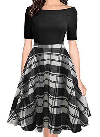 93721da7bf2 oxiuly Women s Vintage Chic Plaid Patchwork Off Shoulder Pockets Casual  Swing Dress OX232 (S
