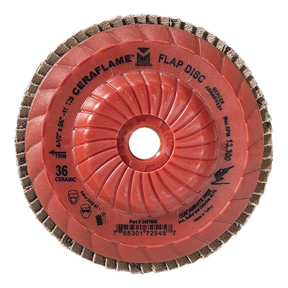 Mercer Industries 349T080 Type 29, 4-1/2'x 5/8' -11 Grit 80 Premium Ceramic Flap Disc Trimmable (10 Pack) 4-1/2x 5/8 -11 Grit 80 Premium Ceramic Flap Disc Trimmable (10 Pack) Mercer Tool Corp. - Tools