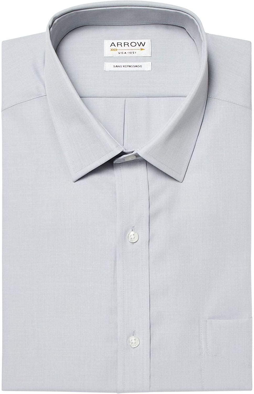 ARROW - Camisa de Manga Corta sin Plancha, Color Gris Perla Gris Perla 40: Amazon.es: Ropa y accesorios