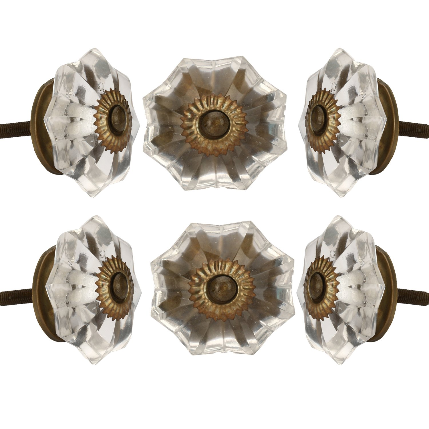 Set of 6 Crystal Glass Knobs Kitchen Cabinet Cupboard Glass Door Knobs Dresser Wardrobe and Drawer Pull by Perilla Home (Clear)