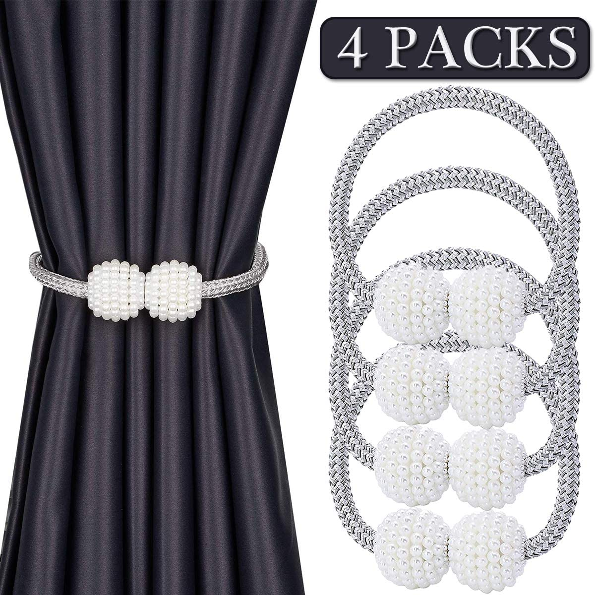 4PCS Curtain Holdbacks Rope Tie Backs Tassel Tiebacks Beaded Ball Decor Silver