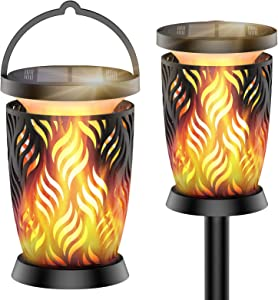 RUNACC Solar Lights Outdoor with Flickering Flame - 2Pack 96LED Solar Tiki Torches Lights IP65 Waterproof Hanging Flame Lantern Auto On/Off for Pathway Yard Garden Patio Landscape Décor