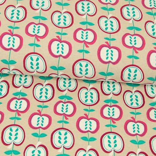 Tela de Jersey de algodón orgánico Werning, Manzanas, Color Beige ...