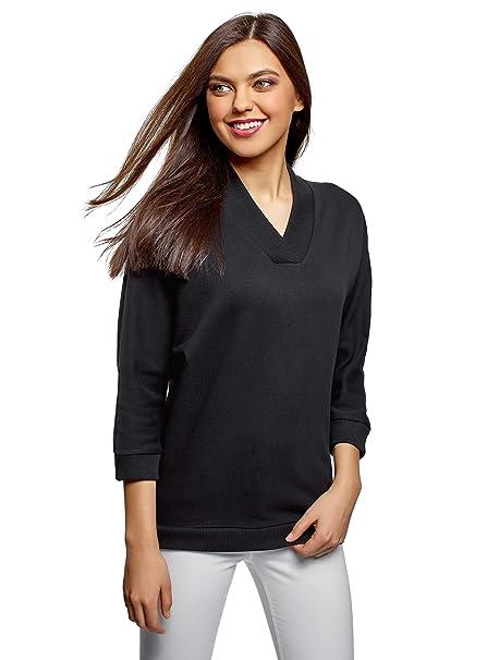 oodji Collection Mujer Camiseta con Cuello Amplio Pico