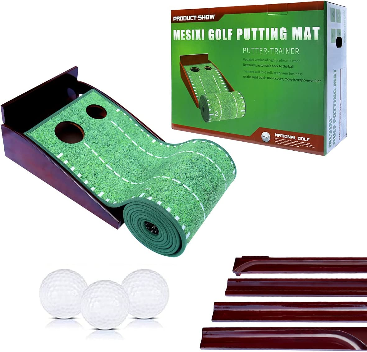 MESIXI Wood Golf Putting Mat Green with Auto Ball Return System Portable Mini Golf Practice Training Aid Equipment Game and Golf Gifts for Men Home Office Backyard Indoor Golf Outdoor Use