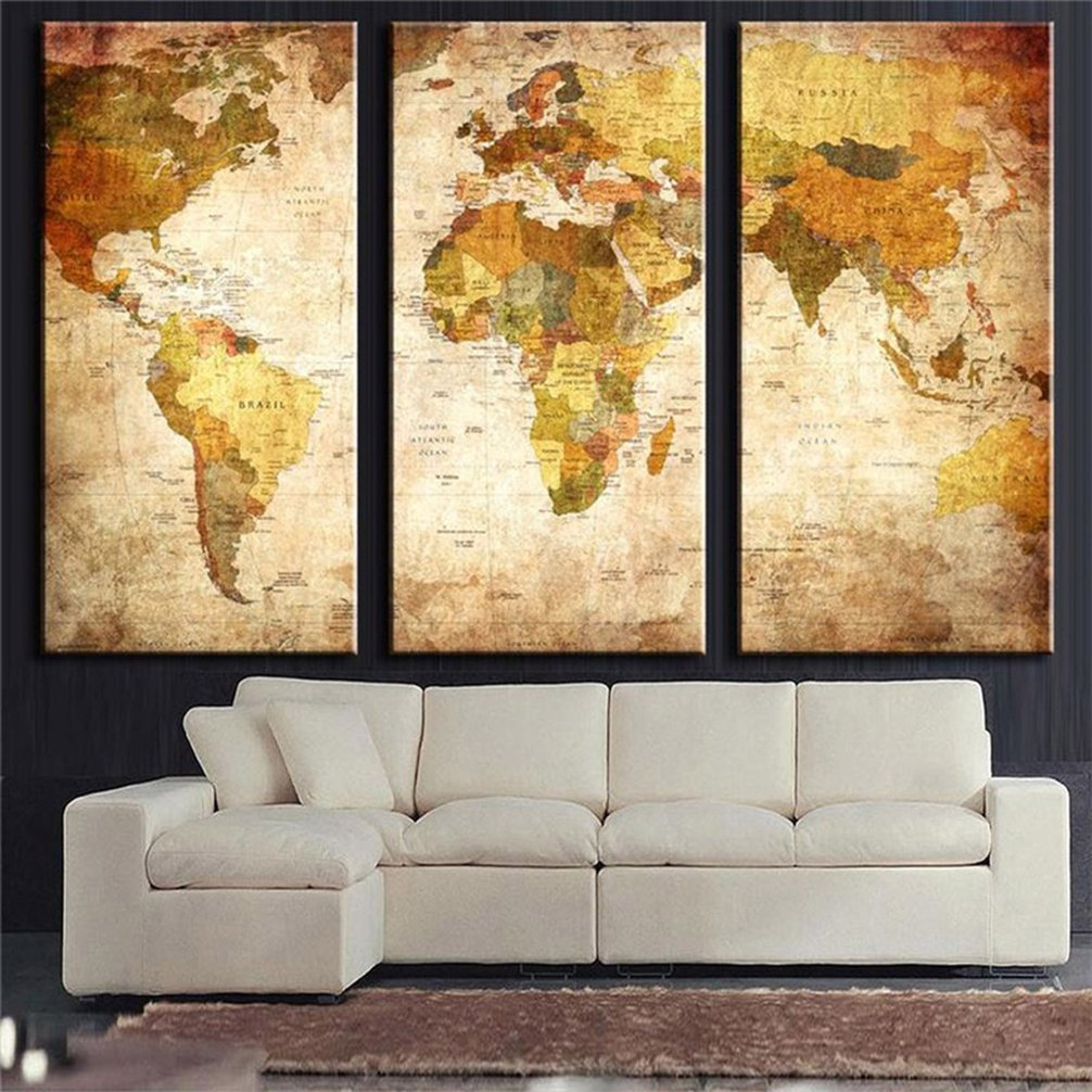 Amazon.com: Be Good 3 Panel Vintage World Map Wall Art Globe ...