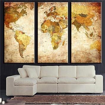 Omgo triptyque carte du monde vintage murale tableau peinture à lhuile impression sur toile