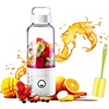 Portable Juice Blenders for Smoothie USB Rechargeable Mini Juicer Machines Extractor Household Fruit Mixer Small Cup 500ml Personal Travel Outdoors (White)