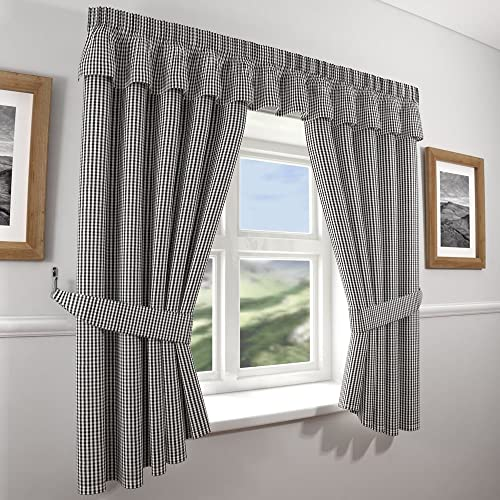 gingham check kitchen curtains black white 46 wide x 42 - Kitchen Curtain