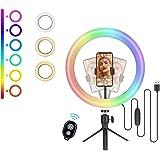 (New 2021) Cheelom 10 pulgadas aro de luz 48 color mode LED Ring Lamp aros de luz, Round Light Supplement Lamp, with RGB colo