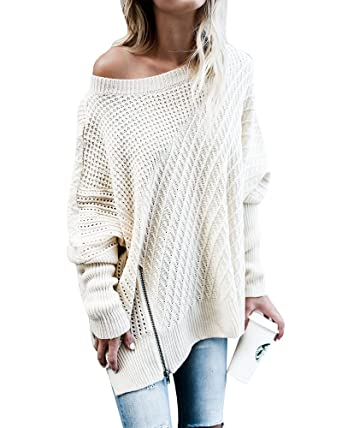 Beautife Womens Sweater Oversized Knitted Casual Crewneck Long Batwing Sleeve Jumper Pullover
