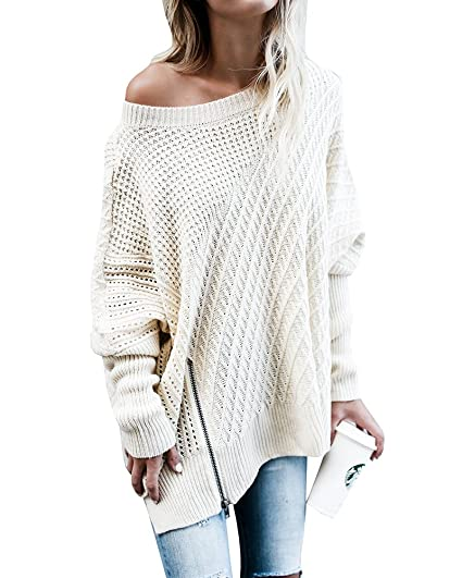 91223943faf Beautife Womens Sweater Oversized Knitted Casual Crewneck Long Batwing  Sleeve Jumper Pullover