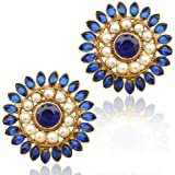 Blue stone with flower motif pearl stud, India vintage ADIVA copper cute earring ab92b
