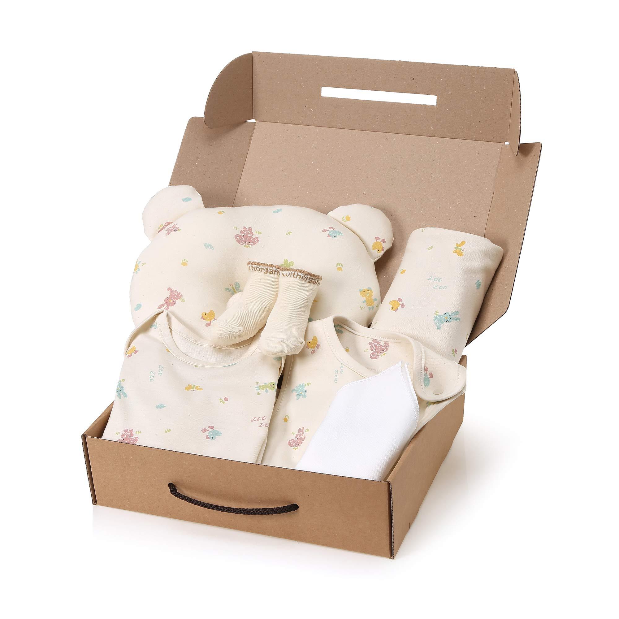 WithOrganic Newborn 7-Piece Organic Gift Set /100% Organic Cotton (6M, Crayon Animal)