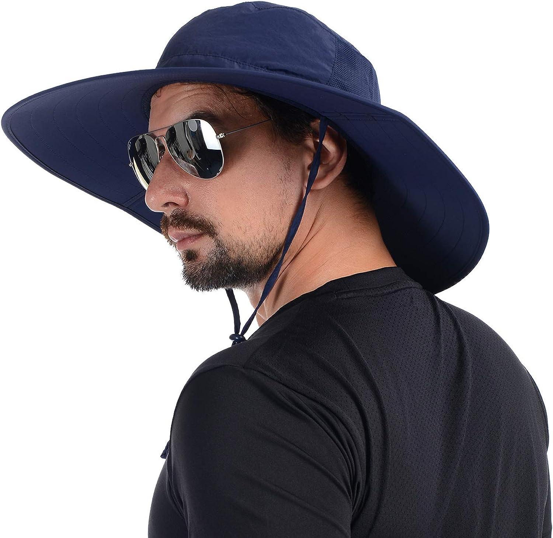USHAKE Foldable Super Wide Brim Fishing Hat Bucket Safari Hat Sun Hat UPF 50