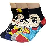 JJMax Womens Superhero and Princess Soft Microfiber House Socks Set