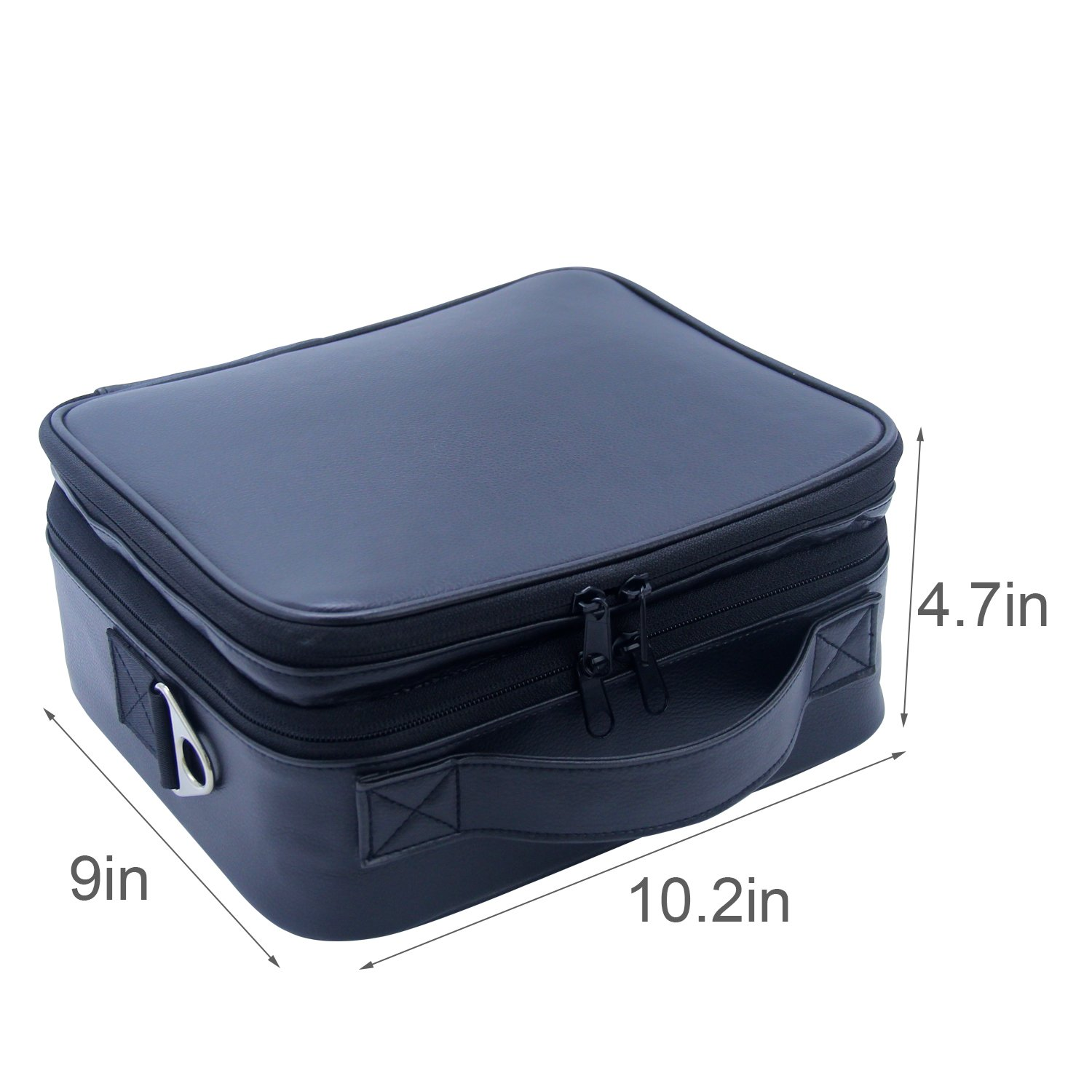 Travel Makeup Bag Makeup Train Case 2 Layer Premium PU Leather Cosmetic Makeup Brush Organizer with Mirror Portable Artist Storage Bag Toiletry Bag Perfect Gift (Black) by Relavel (Image #4)