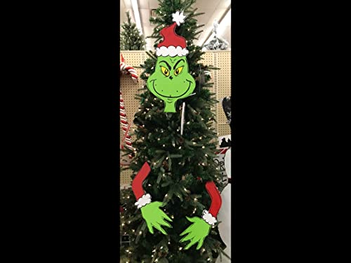 Christmas Grinch Decorations.Amazon Com Grinch Christmas Tree Topper 3 Peice Set Handmade