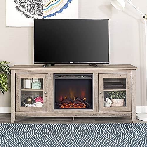 Home Accent Furnishings New 58 Inch Wide Television Stand with Fireplace in Grey Wash Finish