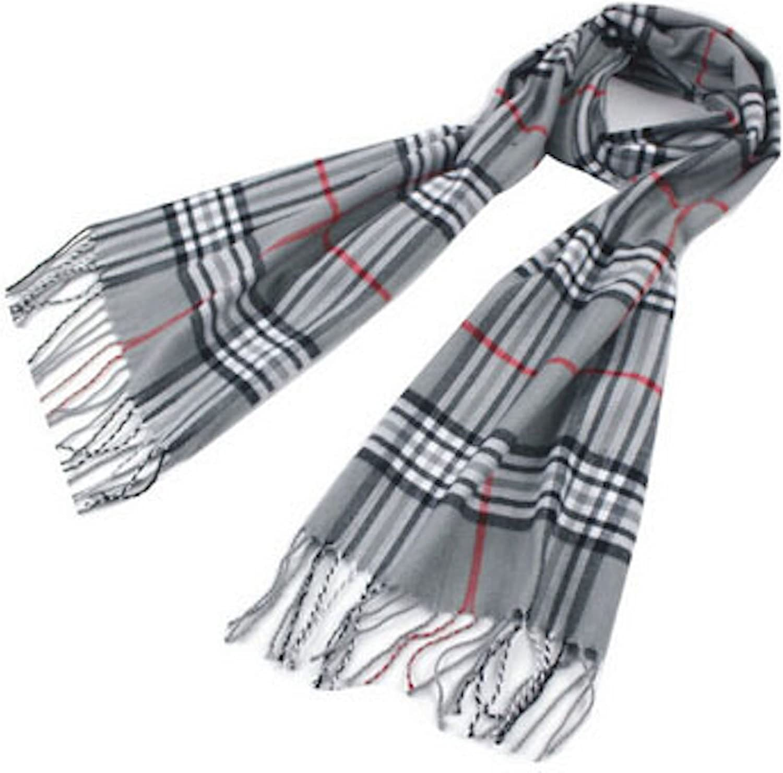 Grey Men/'s Tartan Pattern Design Fashion Knitted Scarf Scarves Fall//Winter *NEW*