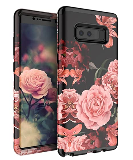 differently 7add4 1a397 TIANLI Samsung Galaxy Note 8 Case Cute Flowers for Girls/Women Smooth  Surface Three Layer Shockproof Protective Cover,Floral Black