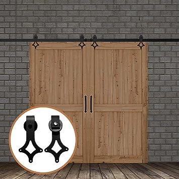 LWZH 6FT/183 cm Herraje para Puerta Corredera Kit de Accesorios para Puertas Dobles,Negro: Amazon.es: Bricolaje y herramientas