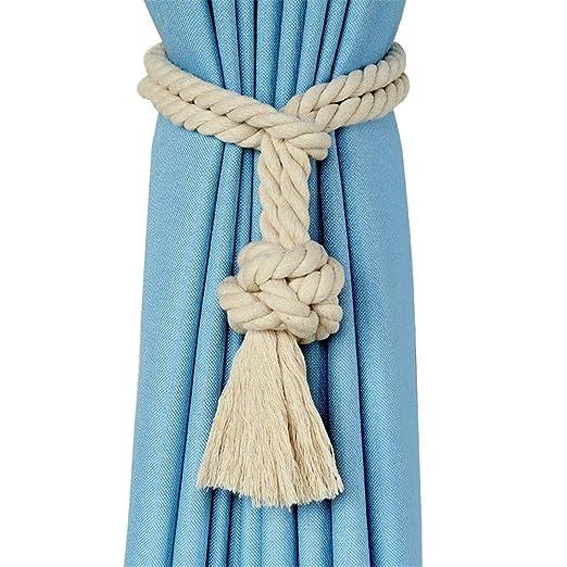 Cortinas De Corbata 1 par de tejer a mano cuerda de la cortina ...