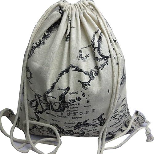 HuaMore Mochilas unisex Retro Impresión Bolsas Mochila con cordón: Amazon.es: Zapatos y complementos